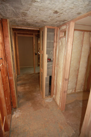 Shower area during construction