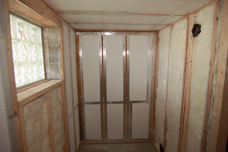 Sauna during construction